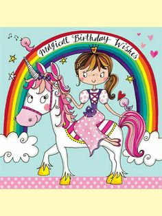 Magical Birthday Wishes - Princess and Unicorn - Children's Birthday - Rachel Ellen Designs – Card and Stationery Designers and Publishers
