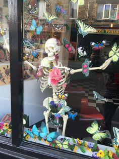 My spring window for Barnsley Tattoo Emporium. I cut the butterflies from wallpaper samples