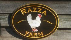 Hardwood Chicken Farm Sign Custom Personalized