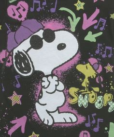 The 50% cotton and 50% polyester blend shirt for girls has Snoopy and Woodstock printed on the front with neon graffiti in the background. Description from t-shirts.com. I searched for this on bing.com/images