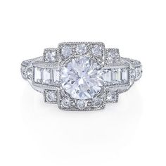 Greenwich Jewelers | Products | Category | Rings | Engagement | Beverley K Baguette and Pave Diamond Engagement Ring