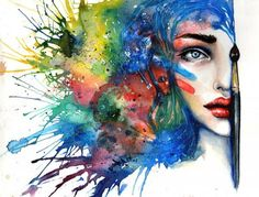 50 Mind Blowing Watercolor Paintings « Cuded – Showcase of Art & Design Watercolor Portrait Painting, Portrait Paintings, Art Paintings, Watercolor Paintings, Acrylic Paintings, Portrait Art, Body Painting, Art And Illustration, Blog Art