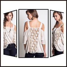 HP Cold Shoulder Top with Lace Detail Rice colored lace detail cold shoulder top! Feminine and Chic!!Please don't buy from this listing!! Send a comment indicating which size and I will make a listing for you! Thanks!! Umgee Tops