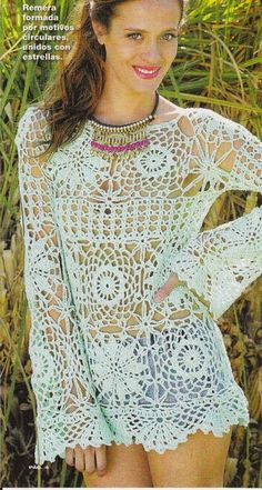 "Ivelise Hand Made: Lace Blouse In Crochet - Click on the link "" Graphical"" on site for the diagrams"