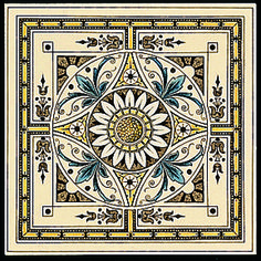 Artworks Symmetrical Classic Pattern Single Decor Tile on Colonial White Victorian Crafts, Victorian Tiles, Victorian Era, Decorative Wall Tiles, Ceramic Wall Tiles, Tile Art, Minton Tiles, Traditional Tile, Tile Manufacturers