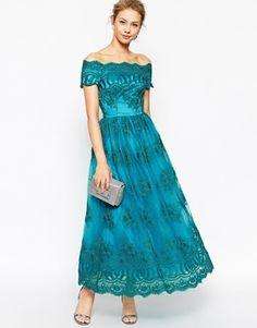 ASOS ドレス-ロング 関税送料込 ASOS Chi Chi London 刺繍 レース スカラップ ドレス