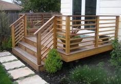 Deck railing with horizontal wood rails