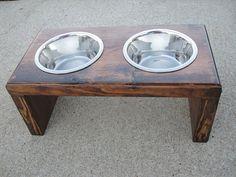 Small/ Medium Dog - Food Water Stand via Etsy Dog Food Bowl Stand, Dog Food Stands, Dog Food Bowls, Water Table Diy, Dog Food Delivery, Raised Dog Bowls, Dog Table, Diy Dog Crate, Dog Ramp