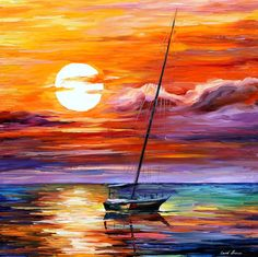 "Far and away - PALETTE KNIFE1 Oil Painting On Canvas By Leonid Afremov - Size 30"" x 30"""