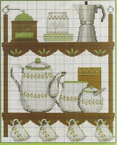 Espresso / coffee theme pattern / chart for cross stitch, crochet, knitting, knotting, beading, weaving, pixel art, micro macrame, and other crafting projects.