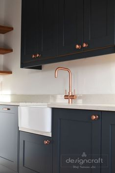 can taps Copper up! This stunning image features our Pronteau 3 IN 1 hot tap in Urban Copper. We love how they have matched the cupboard handle colour with the tap and the dark blue units set Kitchen Taps, Kitchen Units, Kitchen Handles, Kitchen Layout, Kitchen Flooring, Kitchen And Bath, Urban Kitchen, Blue Kitchen Cupboards, Kitchen Cupboard Colours