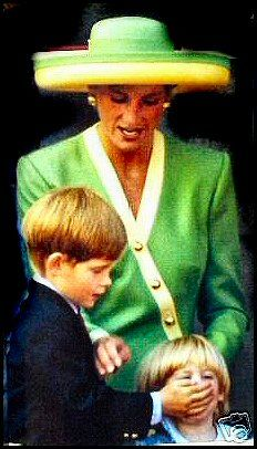Prince Harry with his hand over Princess Beatrice's mouth. Diana trying to stop him, lol!