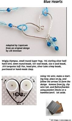 Blue Hearts Beads and Wire Jewelry made with WigJig jewelry making tools and jewelry supplies.