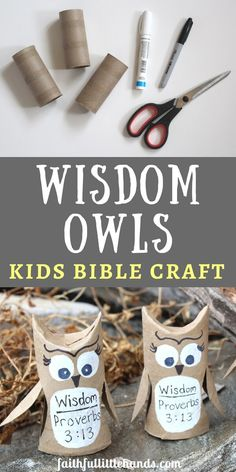 You can make these adorable wisdom owls for a kids Bible lesson on the book of proverbs. Great craft for a Sunday school class or Children's ministry. *** Read more at the image link. Sunday School Crafts For Kids, Bible School Crafts, Bible Crafts For Kids, Sunday School Activities, Bible Lessons For Kids, Church Activities, Preschool Bible Crafts, Kids Sunday School Lessons, Bible Activities For Kids