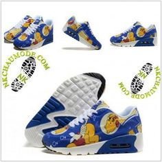 best website 2e043 db4a9 Mode   Nike Chaussure Sport Air Max 90 Enfant Winnie Bleu Jaune