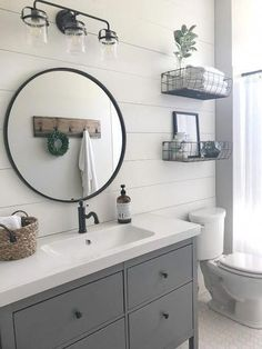 Bathroom Mirrors Modern Farmhouse Luxury Stunning Modern Farmhouse Bathroom Decor Ideas 23 – Most Popular Modern Bathroom Design Ideas for 2019 Bathroom Interior, Farmhouse Bathroom Decor, Modern Farmhouse Bathroom, Bathroom Decor, Round Mirror Bathroom, Trendy Bathroom, Bathroom Design Small, Bathroom Mirror, Home Decor