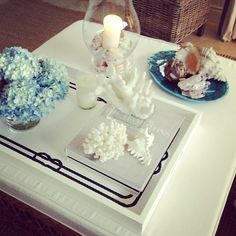 Coffee table tableau from my favorite blog, CHIC COASTAL LIVING
