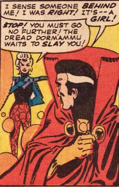 It's — a Girl! Love at First Sight for Clea and Doctor Strange From Strange Tales November Art by Steve Ditko. Colors by Stan Goldberg. Letters by Artie Simek. Words by Stan Lee. Old Comics, Comics Girls, Vintage Comics, Funny Comics, Old Comic Books, Comic Book Pages, Comic Book Artists, Doc Strange, Strange Tales