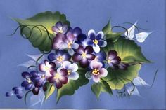 One Stroke Holiday Course..students learn the Romantic Violet design.