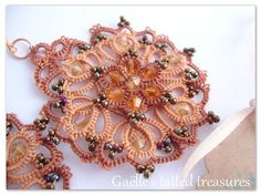 Tatted lace jewels, handmade earrings, tatted earrings, original design Hand tatted earrings 'Butterfly' brown shades
