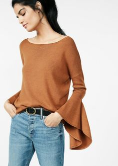 Extreme Flute Sleeve Sweater in cognac $49.90