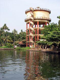 Water tower in Kerala backwaters