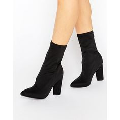 Missguided Pointed Toe Neoprene Heeled Ankle Boot ($61) ❤ liked on Polyvore featuring shoes, boots, ankle booties, black, high heel booties, black ankle boots, black boots, bootie boots and black ankle booties