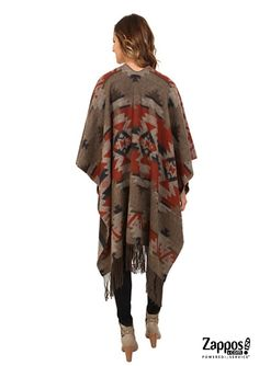 Travel the world in warm and comfort style with this striking tribal-print Pendleton shawl!