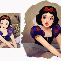 I decided to do another screencap repaint to get used to my new pc and adjust my brush settings again; I drew Disney's Snow White! It was a tricky one especially given her age and their original design, but I think it came out nicely! I hope you like it