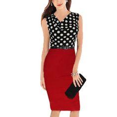Allegra K Women's Cowl Neck Dots Prints Sheath Dress w Belt Red Black (Size L / 12)