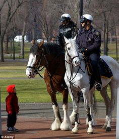 Family favourite: Police say that mounted troops are a great attraction to the pubic but more importantly very effective at dealing with crime.in New Jersey