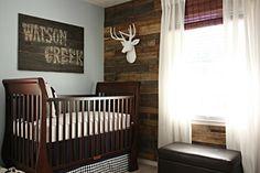 rustic baby boy nursery... LOVE the wood wall