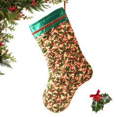 Christmas Stocking Holiday stocking Holly and by atonydesignbytony