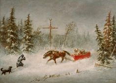 "June 19, 1815: Born, Cornelius Kreighoff. The 19th century Canadian painter was known for his paintings of Canadian life on the frontier, which were popular both in his own time and today. Shown is ""The Blizzard"", painted about 1857."