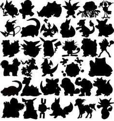 70 Pokemon Clipart PNG Pokemon Silhouettes Clipart Digital Pokemon Stickers…