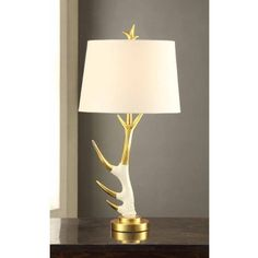 Antler Table Lamp with Shade On/Off CFL Bulb Included