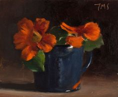 daily painting titled Nasturtiums in a blue cup - click for enlargement