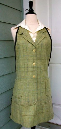 Men's Apron Up-Cycled from Suit Jacket - Green Plaid. $50.00, via Etsy.