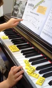 Cut rectangles the width of a piano key out of a foam sheet and write the letter names of the keyboard on them. Students can practice arranging the letters in order, placing the letters on the correct keys, practice saying the letters forward and backward, etc.