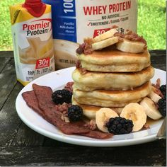 Premier Protein can be used for many recipes, including waffles, biscuits, and these Elvis Pancakes - protein packed and delicious! Protein Milkshake, Milkshake Flavours, Protein Mix, Protein Shake Recipes, Protein Foods, Smoothie Recipes, Smoothies, High Protein, Breakfast Food List