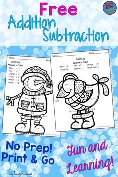 Free - Coloring these two super cute winter friends while solving problems is the perfect way to ease your students back into the swing of things after the long holiday break or anytime. Couldn't be cuter! Math Worksheets, Math Resources, Math Activities, Winter Activities, Coloring Worksheets, 1st Grade Math, Kindergarten Math, Second Grade, Grade 2