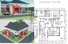 denah rumah minimalis type 70 Minimalist House Design, Minimalist Home, Home Projects, Projects To Try, Bali, Pallet Chair, Gas Station, Autocad, House Plans
