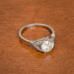 A rare one-of-a-kind antique engagement ring. Circa 1940. Sold by Estate Diamond Jewelry.