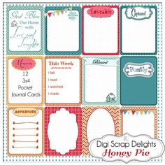 Honey Pie Pocket Journal Cards 3x4 Project Life Style Type in Turquoise, Red, Orange, Green Pocket Cards, Printable Instant Download