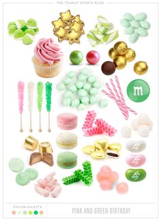 Sweet Selections from the TomKat Studio. Pink, Green and Gold Birthday Party Sweets Roundup. Gold Birthday Party, Birthday Party Themes, Party Sweets, Party Time, Party Party, Pink Parties, Party Entertainment, Baby Shower Decorations, Green And Gold