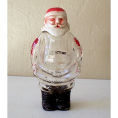 1940's Glass Santa Claus Glass Candy Container U.S.A.