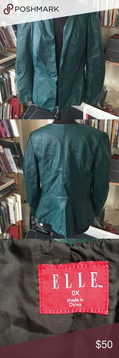 Elle Black teal faux leather coat OX NWT The bust is 42 inches. The length is 26 inches. The waist is 38 inches. Supersoft. Feels like real leather. Nice tailoring details. Elle Jackets & Coats