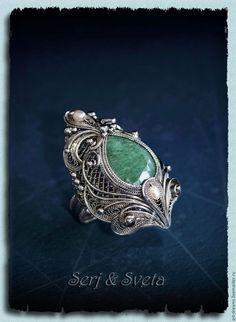 """Купить Кольцо """"Изумрудная легенда"""" - зеленый, изумруд, огранка, кольцо с изумрудом, легенда, тайна, vip"""