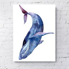 Whale art, Blue whale, Purple whale, sea creature painting, wall art, canvas art, sea animal art, home decoration