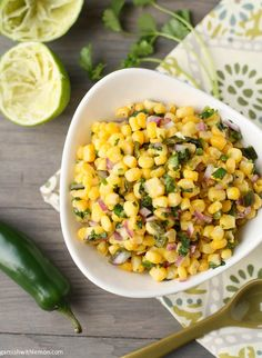 Almost-Chipotle's Corn and Roasted Poblano Salsa ~ http://www.garnishwithlemon.com